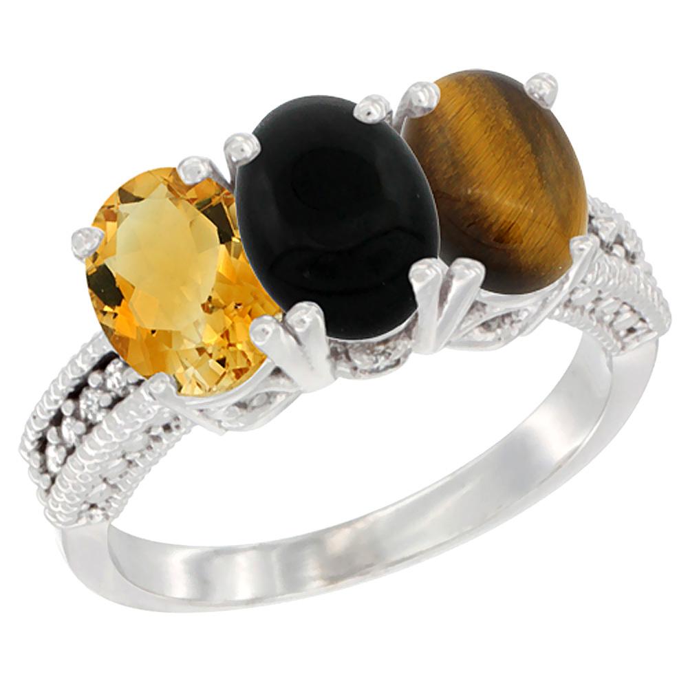 10K White Gold Natural Citrine, Black Onyx & Tiger Eye Ring 3-Stone Oval 7x5 mm Diamond Accent, sizes 5 - 10