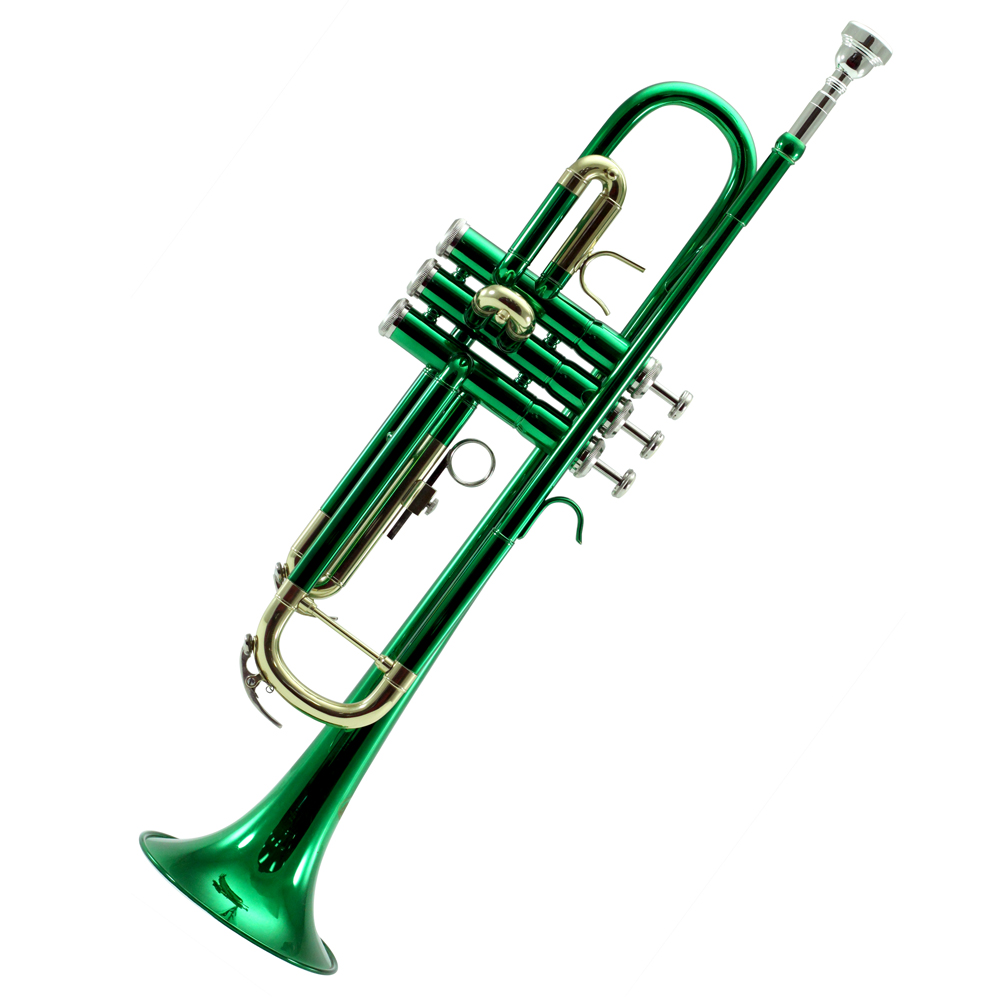 Sky Band Approved Green Lacquer Brass Bb Trumpet with Case, Cloth, Gloves and Valve Oil,... by