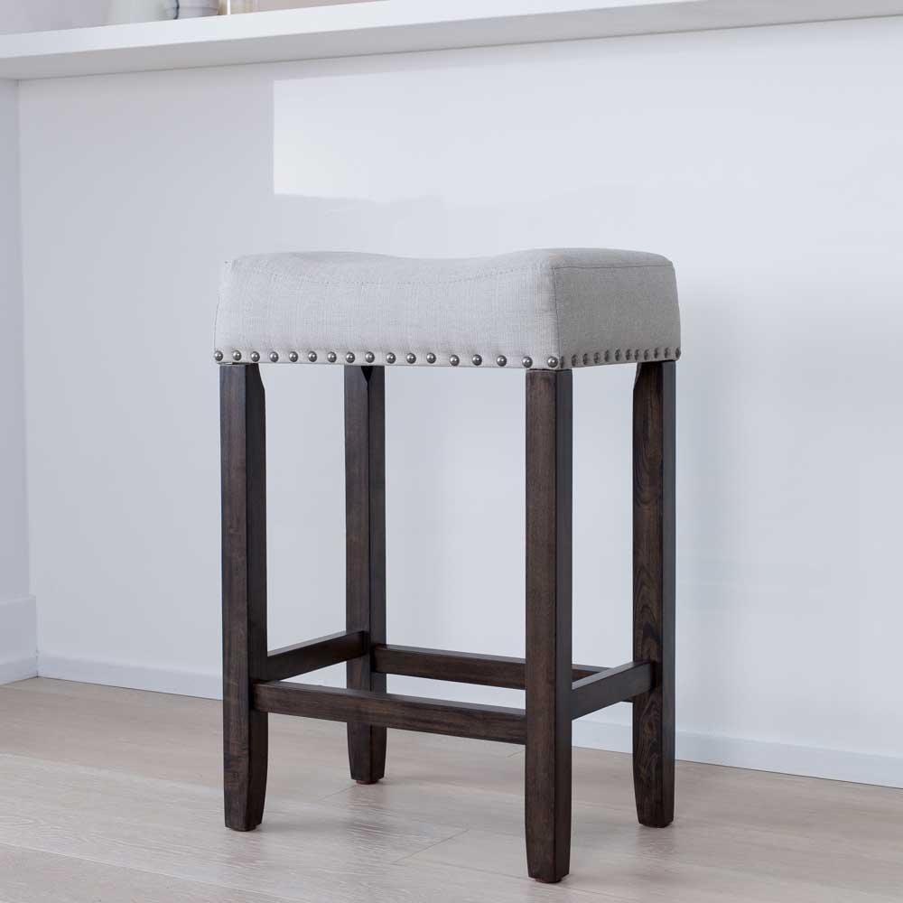 24 Inch Kitchen Counter Bar Stool Upholstered Fabric Cushion Dark