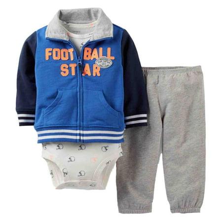 Infant Sweatpants - Carters Infant Boys 3 Piece Set Football Star Jacket Sweat Pants & Bodysuit 3m