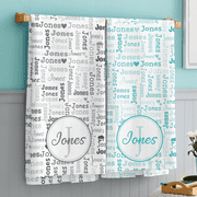 Personalized Family Name Collage Bath Towel - Available Individually or as a Set, Choose From 2 Colors