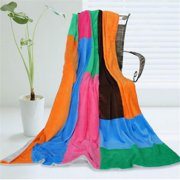 ONITIVA-BLK-062 Onitiva - Colorful Patchwork Soft Coral Fleece Patchwork Throw Blanket