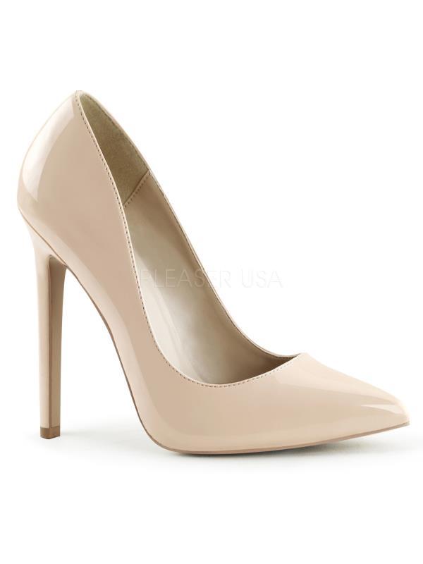 "SEXY20/NU Pleaser Single Soles 5"" Heel Shoes Nude Pat Size: 11"