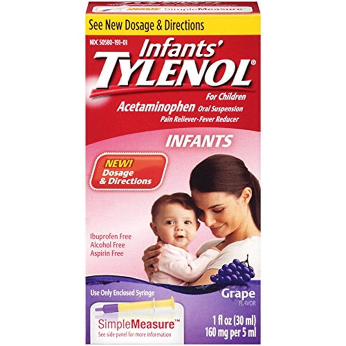Infants' Tylenol Pain Reliever-Fever Reducer, Oral Suspension, Grape Flavor, 1 oz