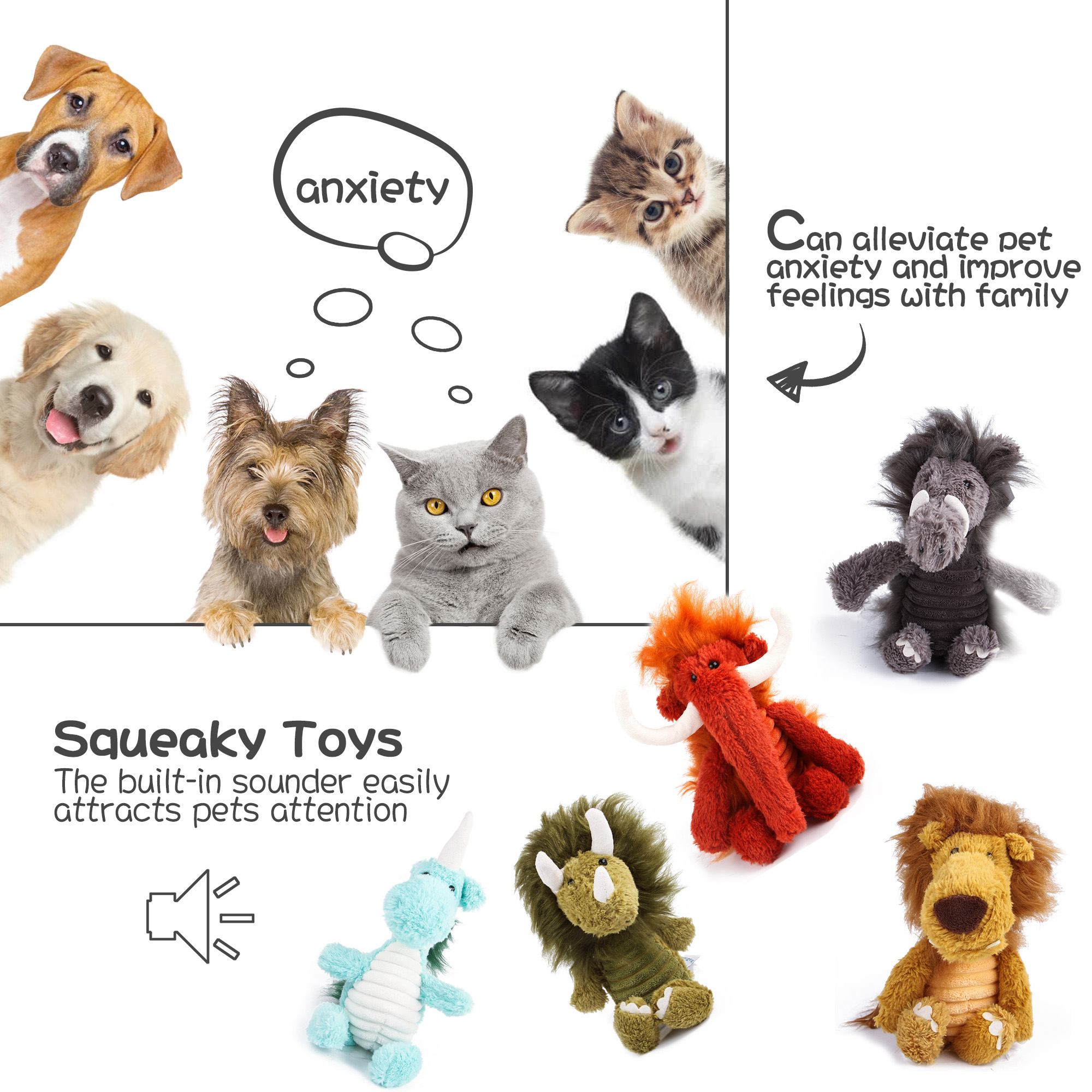 Toys for Dogs, Squeaky Toys for Puppies, Toy Dog Chew Toy for Teething Chewing and Playtime, No Stuffing Plush Animal Dog Toy Set for Small Medium Large Dog Pets (Single, Lion)