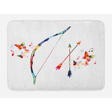 Modern Bath Mat Abstract Unusual Bow And Arrow With