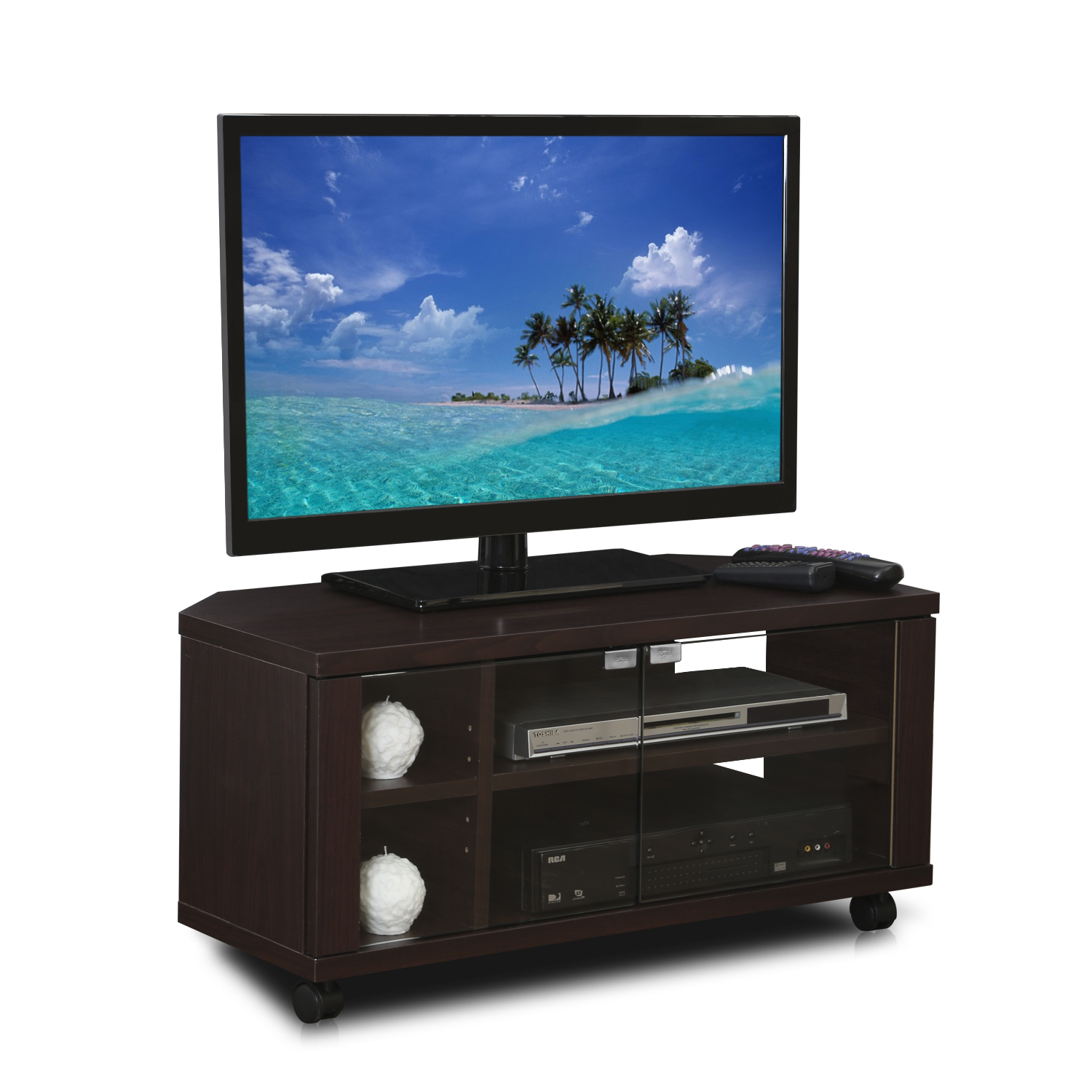 Furinno Indo Espresso TV Stand with Double Glass Doors and Casters