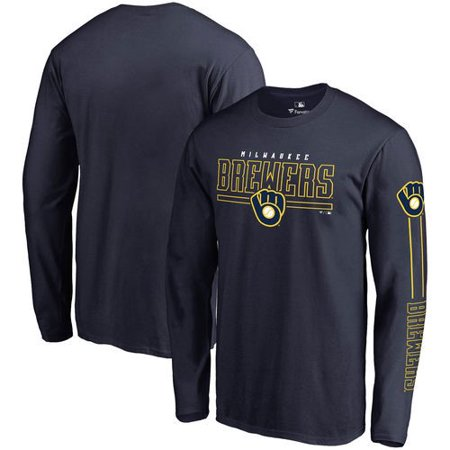 Front Adult Baseball - Milwaukee Brewers Fanatics Branded Front Line Long Sleeve T-Shirt - Navy