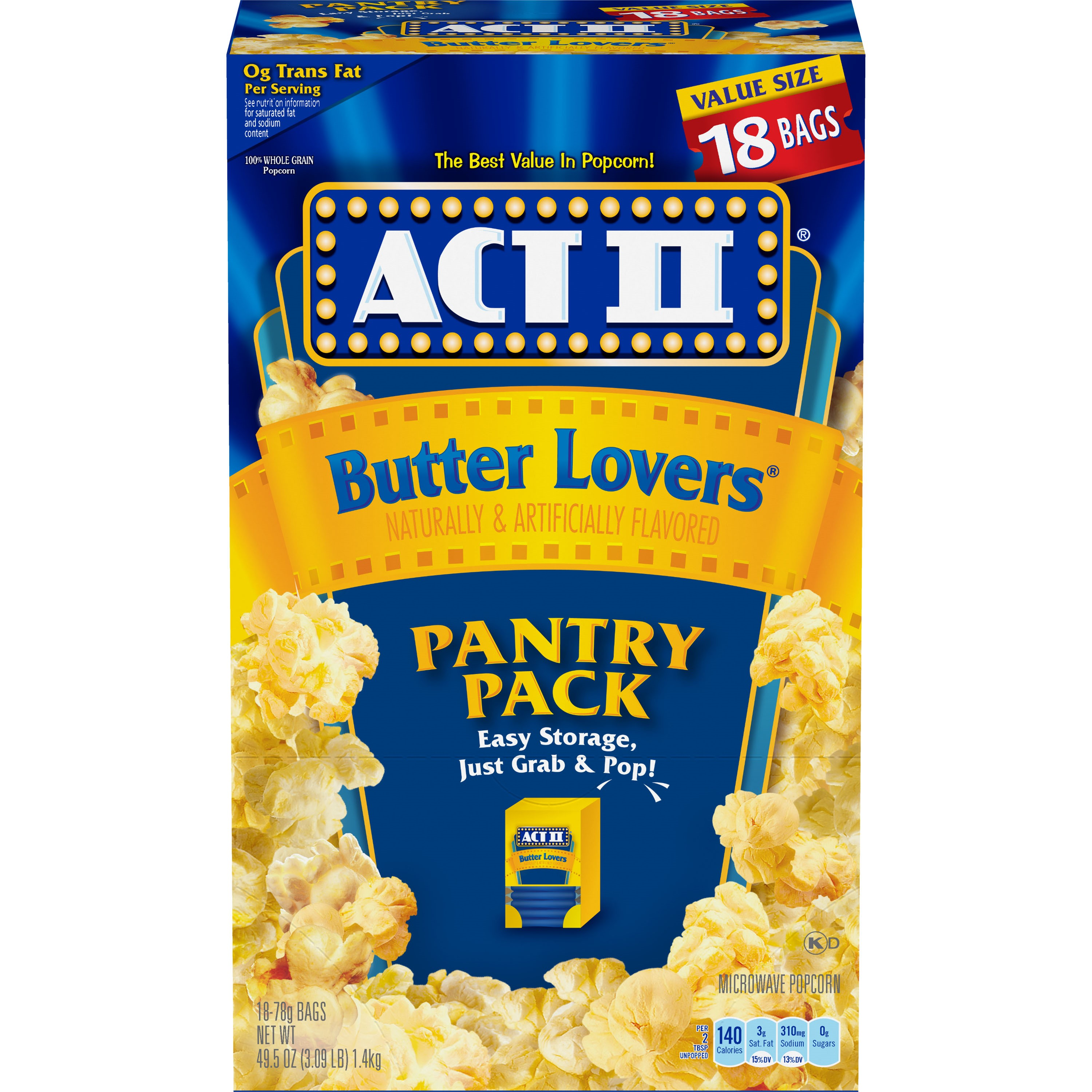 (4 Pack) ACT II Microwave Popcorn, Butter Lovers, Pantry Pack, 2.75 Oz, 18 Ct