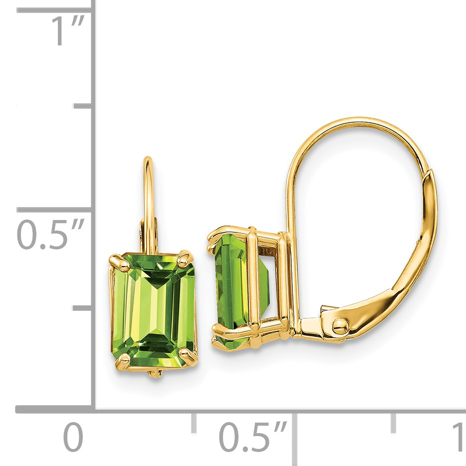 14k Yellow Gold 7x5mm Green Peridot Leverback Earrings Lever Back Drop Dangle Gemstone Prong Fine Jewelry Gifts For Women For Her - image 1 of 2
