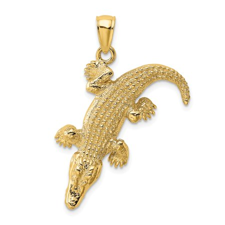 Gold Alligator (14k Yellow Gold 3-D Large Alligator and Closed Mouth Charm Pendant)