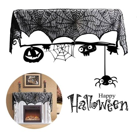 Halloween Mantel Decor Pinterest (cnmodle Special Black Lace Mantel Scarf Halloween Party Horror Door Window Scarf)