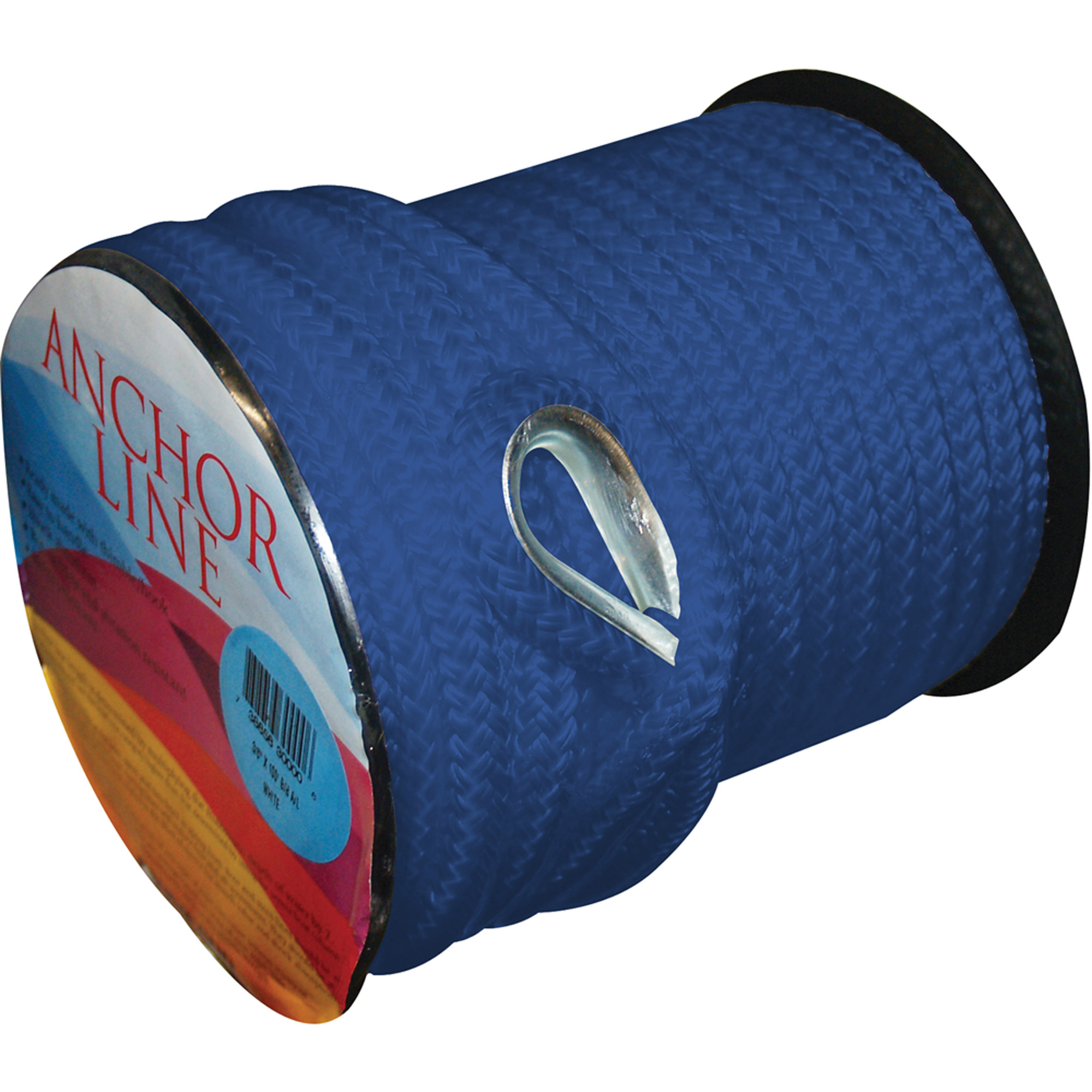 "Unicord 3/8"" x 100' Braided Nylon Anchor Line with Thimble, Royal Blue"