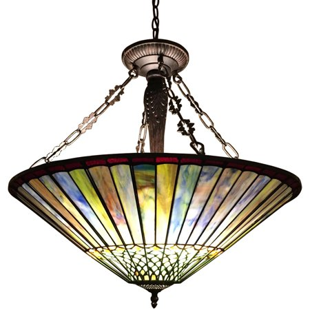 Chloe Lighting Grace Tiffany-Style Geometric 3-Light Inverted Ceiling Pendant Fixture with 22