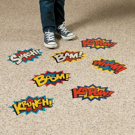 Fun Express - Superhero Floor Clings - Educational - Classroom Decorations - Classroom Decor - 3 Pieces - Floor Clings