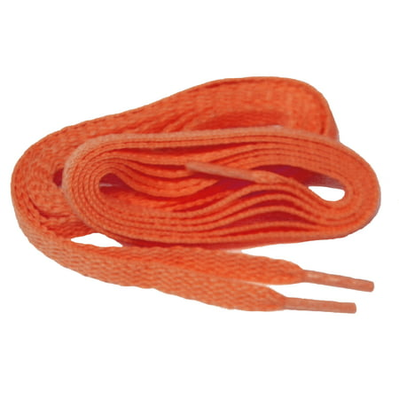 54 Inch 137 cm Bright Neon Orange proATHLETIC™ flat 8mm Chucks style sneaker shoelaces -(2 Pair Pack) - Clip On Shoe Laces
