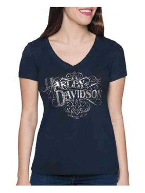 ffebabd8295b3 Product Image Harley-Davidson Women's Craftsman Foiled V-Neck Short Sleeve  Tee - Midnight Navy,