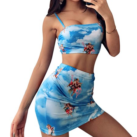 KABOER 2019 Fashion Women Sexy Two Piece Skirt Set Cupid Printing Crop Top And Mini Skirt Suit Summer Sling Camisole Top+Hip (Best Affordable Suits 2019)