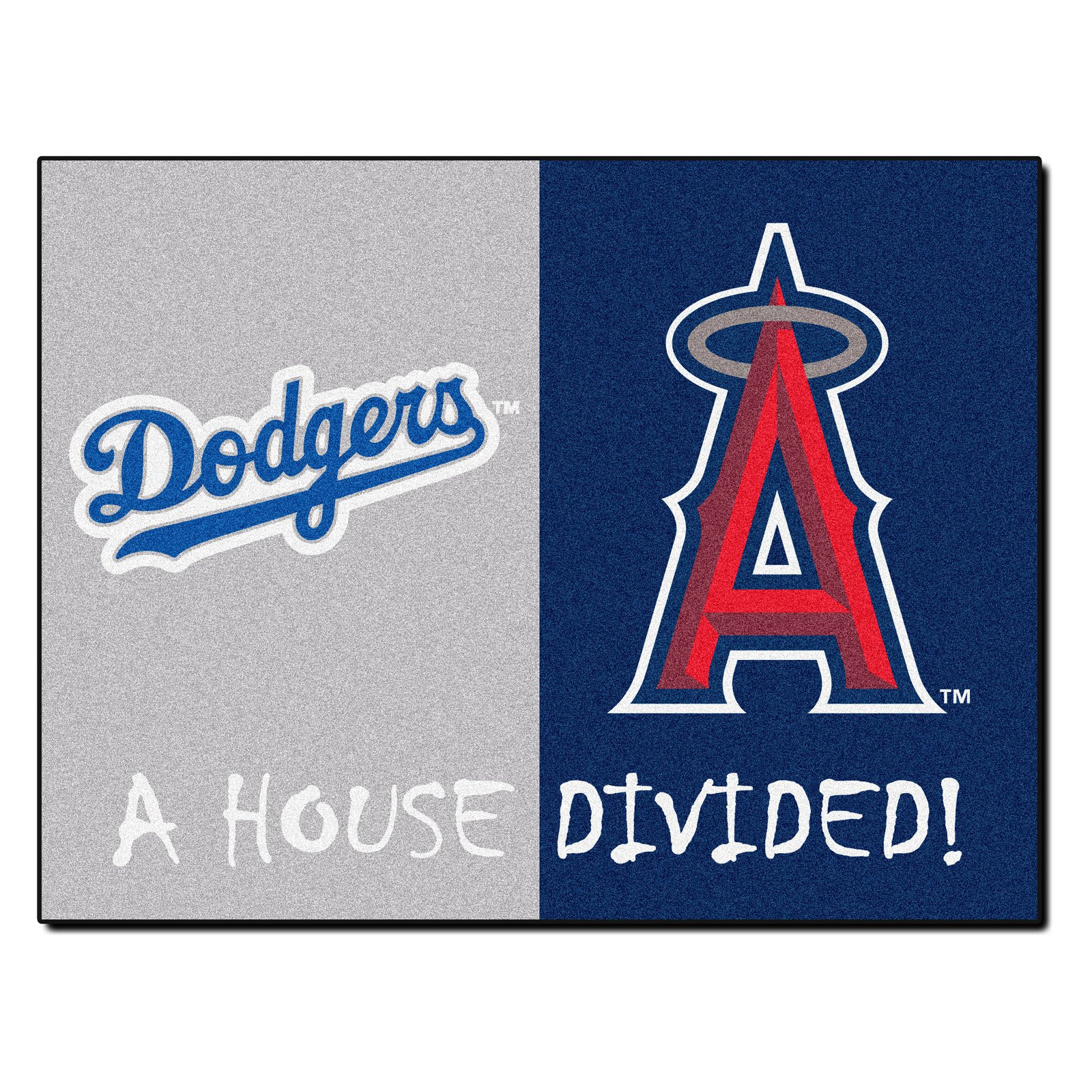 FANMATS MLB House Divided - Dodgers / Angels  House Divided Mat