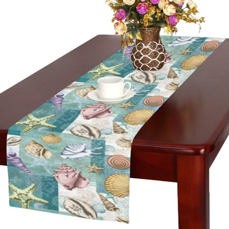 MYPOP Colorful Summer Seashell Coral Starfish Long Table Runner 16x72 incheses, Tropical Beach Sea Shell Rectangle Tablecloth Placemat for Office Kitchen Wedding Party Home Decor (Coral Table Runner)
