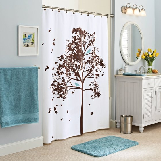 Better Homes and Gardens Farley Tree Fabric Shower Curtain ...