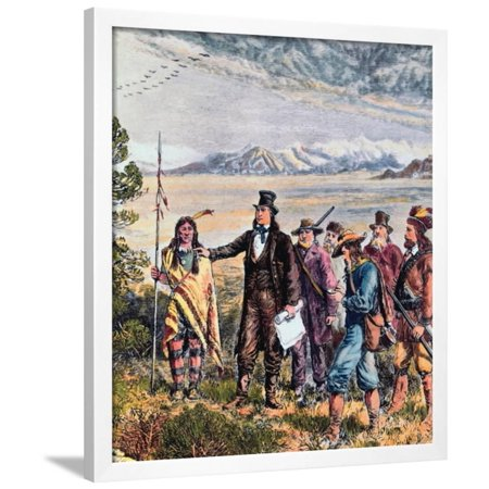 Engraving of Brigham Young Leading Expedition to Salt Lake, Utah Framed Print Wall - Engraved Salt