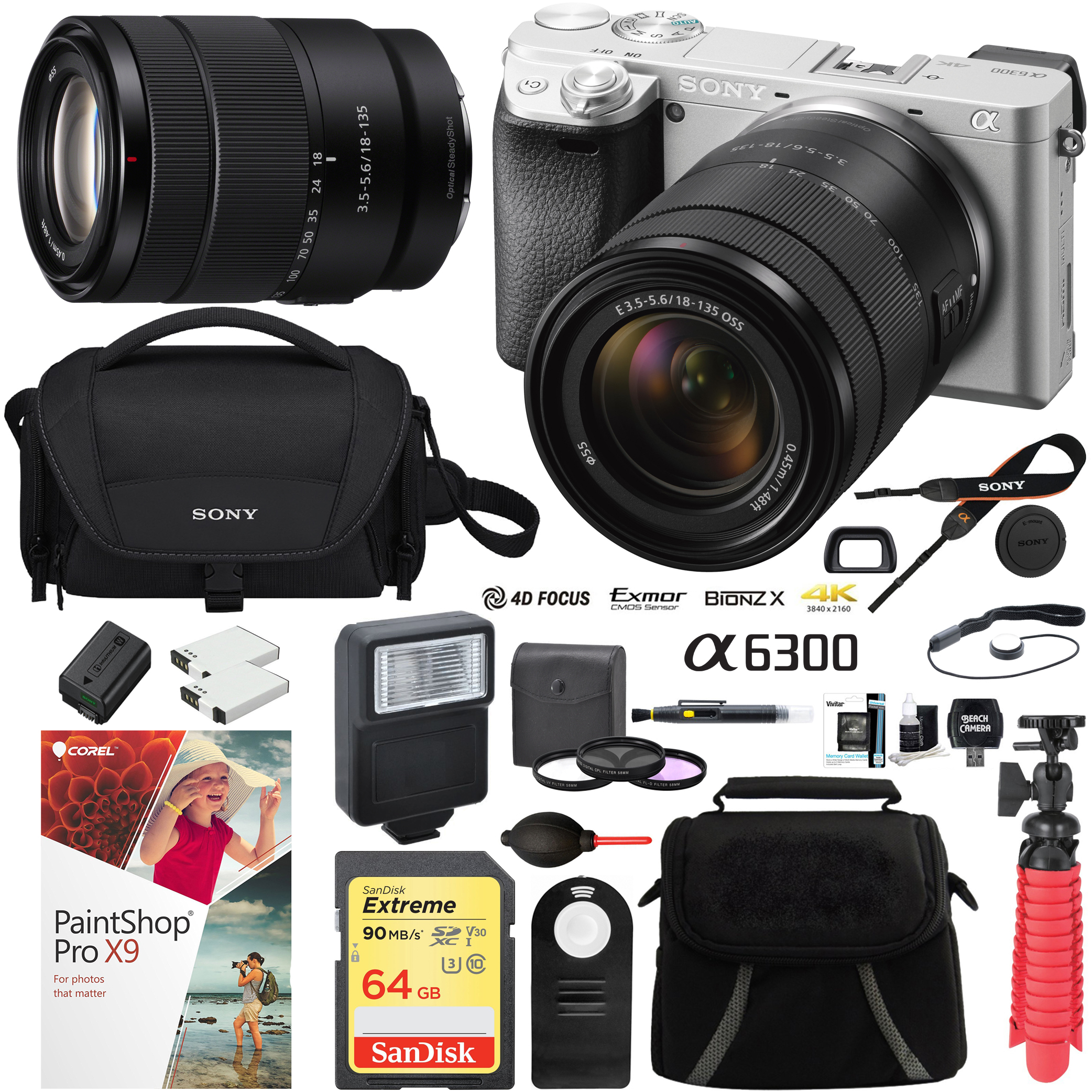 Sony ILCE-6300M/S a6300 4K Mirrorless Camera (Silver) with 18-135mm F3.5-5.6 OSS Zoom Lens and Case 64GB SDXC Memory Card Pro Photography Bundle