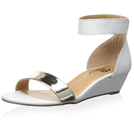 Ciao Bella Women's Wilson Wedge Sandal, White/Gold, 6 M US