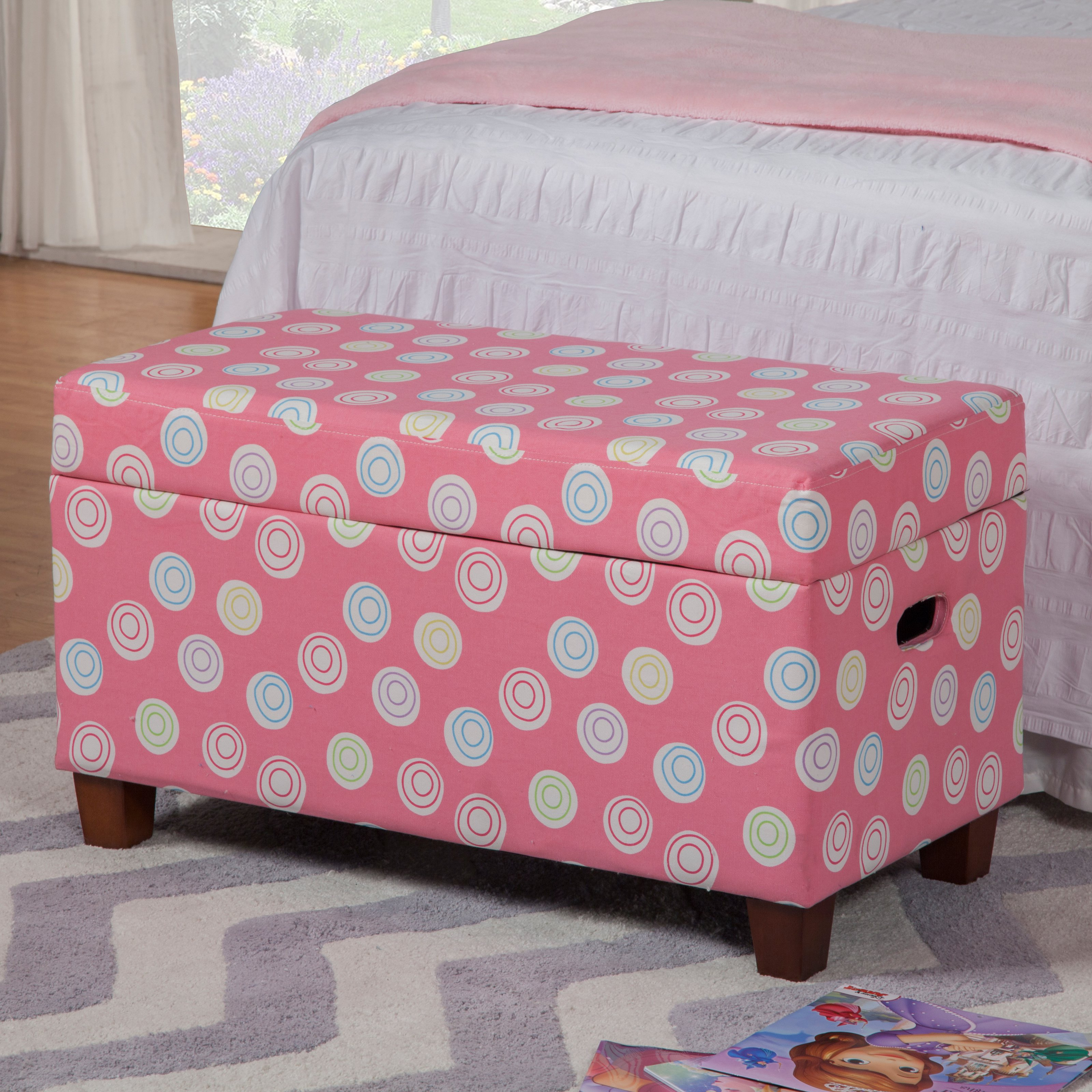 Kinfine Upholstered Deluxe Kids Storage Bench Polka Dot by Overstock