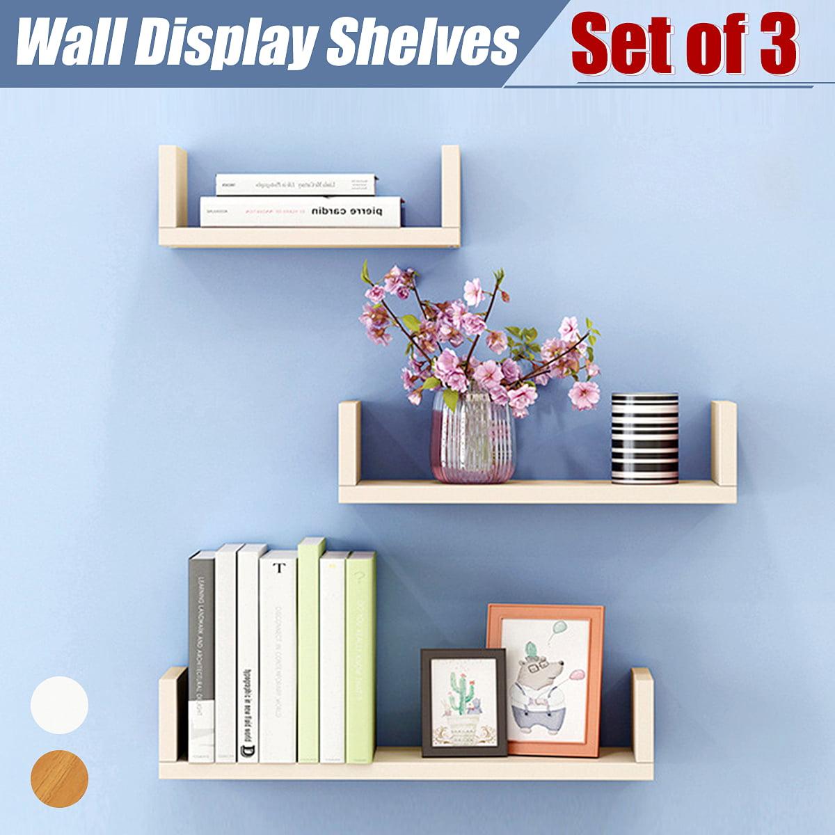 Set of 3 U Shape shelves Floating Wall Shelve Home Decor Storage Wood Shelf Unit