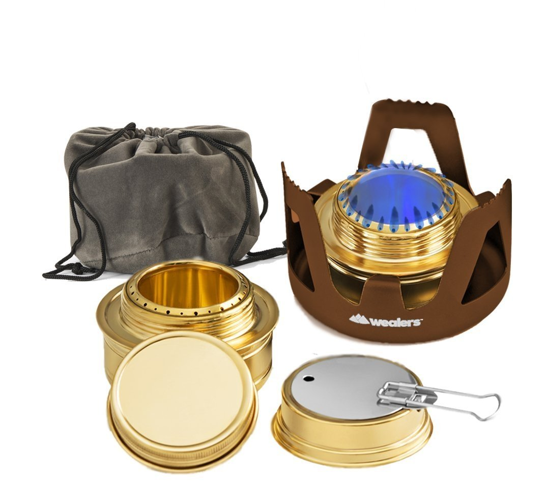 Wealers Camping Portable Aluminum Mini Stove With Brass Alcohol Burner Compact & Lightweight, Backpacking Equipment by