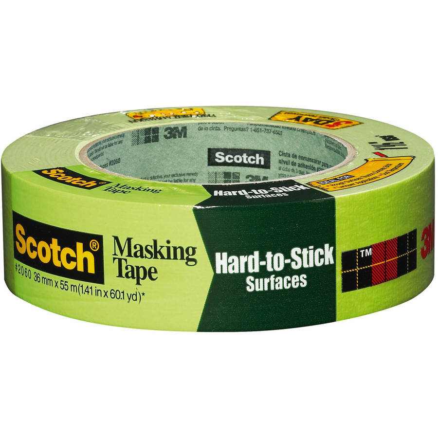 """3M 2060-36A 1-1/2"""" Green Scotch Masking Tape For Hard-To-Stick Surfaces"""