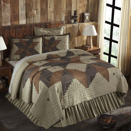 Khaki Green Tan Rustic & Lodge Bedding Novak Cotton Pre-Washed Patchwork Chambray Star King Quilt