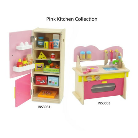 Accessory Value Pack (18 Inch Doll Furniture | Amazing Green and Pink Kitchen Oven/Stove/Sink Combo and Refrigerator Value Pack with over 20 Wooden Food Pieces and Accessories | Fits American Girl Dolls)