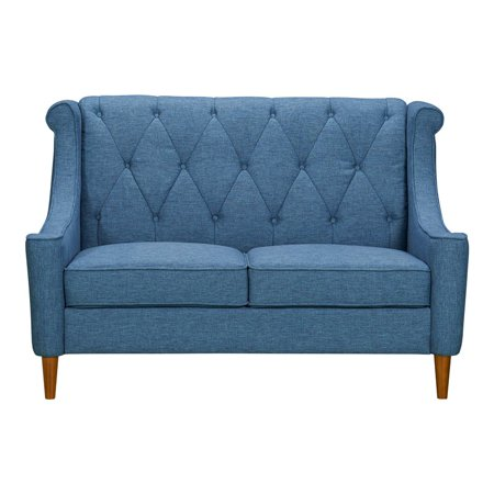 Astounding Luxe Mid Century Loveseat In Champagne Wood Finish And Blue Fabric Inzonedesignstudio Interior Chair Design Inzonedesignstudiocom
