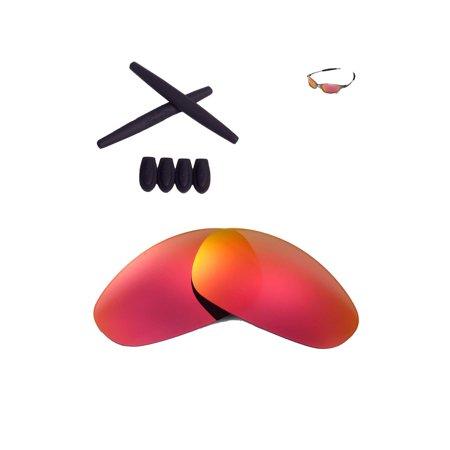 800c543bda Walleva Fire Red Polarized Lenses And Black Rubber Kit(Earsocks+Temple  Socks) For Oakley Juliet Sunglasses - Walmart.com