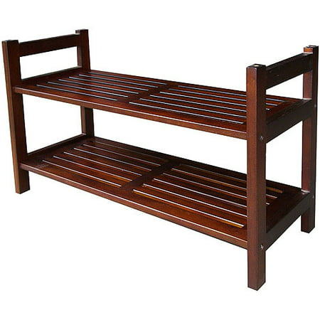ORE International Mahogany Wood Stackable Shoe Rack, Walnut