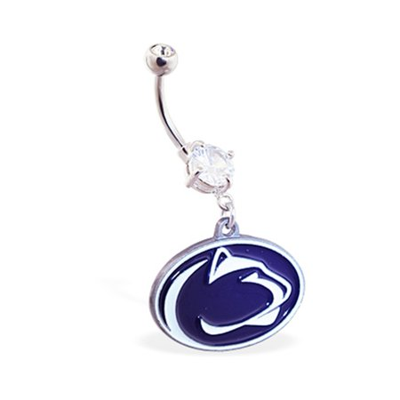 Mspiercing Belly Ring With Official Licensed NCAA Charm, Penn State Nittany Lions