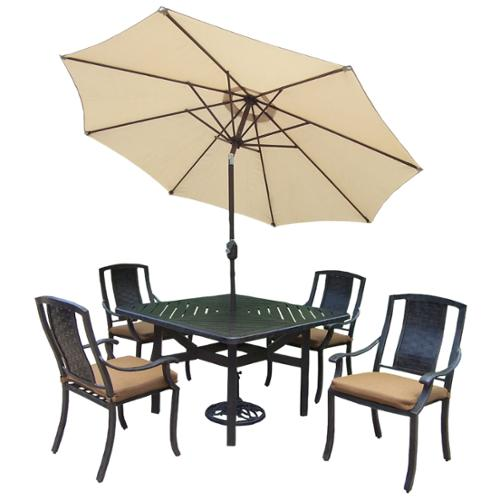Oakland Living Vanguard Sunbrella Aluminum 7-piece Dining Set Beige Umbrella