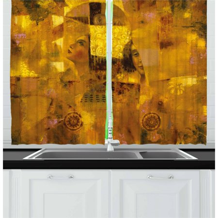 Art Curtains 2 Panels Set, Vintage Woman with Reflection Effects on Drawing Old Fashion Lady Paint Print, Window Drapes for Living Room Bedroom, 55W X 39L Inches, Ginger Earth Yellow, -