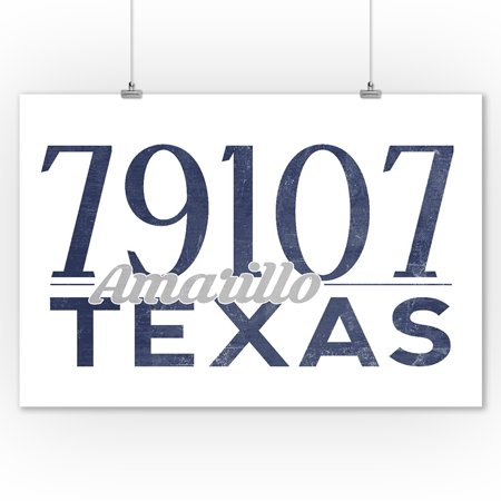 Amarillo, Texas - 79107 Zip Code (Blue) - Lantern Press Artwork (9x12 Art Print, Wall Decor Travel Poster) ()
