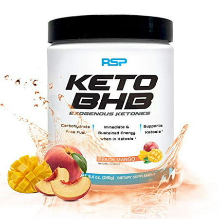 RSP Keto BHB Exogenous Ketones, Energy Boost, Focus Powder, Peach Mango,