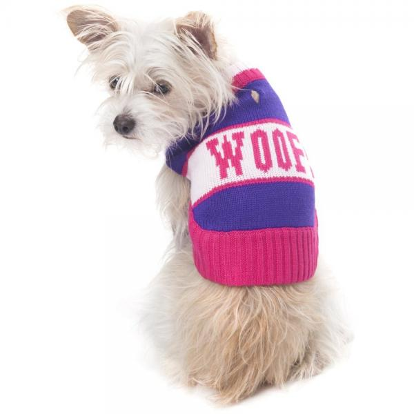 Fashion Pet Woof Sweater for Pets, Small, Purple