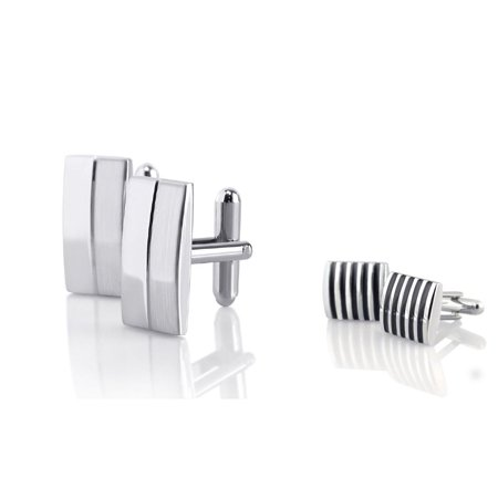 2 Pc Silver Rectangular Stripe+Square Black Stripe Cufflinks Cuff Links