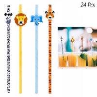 24 Pcs Paper Drinking Straws Safari Theme Animal Print Decor Birthday Party Kids
