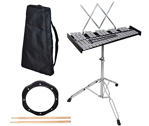 New 32 Note Glockenspiel Bell Kit W Practice Pad +Mallets+Sticks+Stand+Carrying Case by