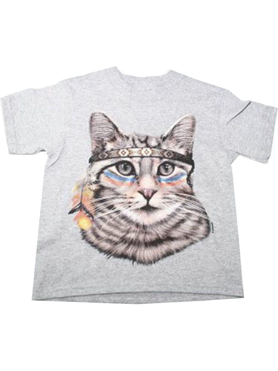 Girls Gray Native American Cat Print Short Sleeve T-Shirt