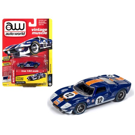 "1965 Ford GT40 #12 ""Gulf"" Dark Blue w/ Orange Stripe Limited Edition to 4,680 pieces 1/64 Diecast Model by Autoworld"