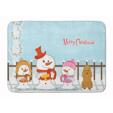 - Merry Christmas Carolers Poodle Tan Machine Washable Memory Foam Mat