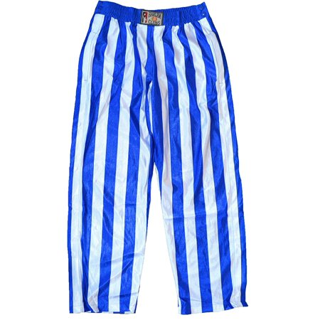 Button Down Snap On Stripe Pants Unisex Blue and White (XL) -